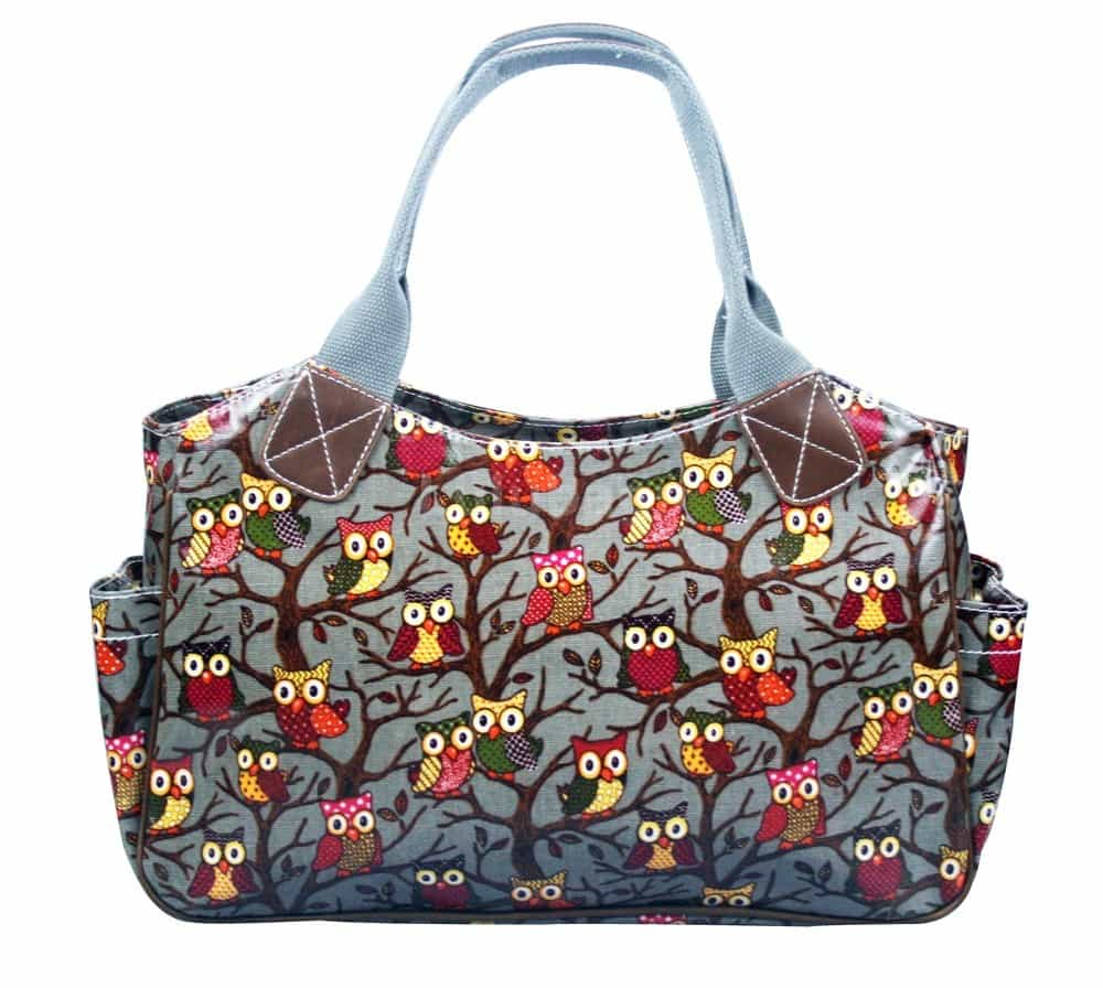 Grey Oil Cloth Handbags Owl Trees Print Bags
