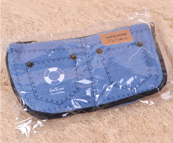 Light Blue Fashion Cool Jean Design Pencil Case Pen Bag