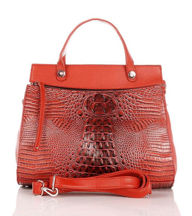 Mock Croc Front Orange Handbag Ladies Birthday Gift Ideas