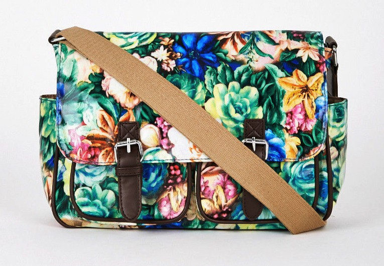 Dark Blue and Green Floral Print Satchel Bag