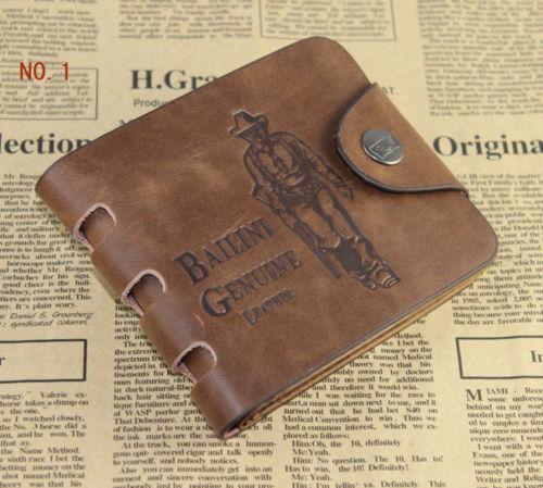Mens Leather Wallet Pockets Card Clutch Cente Bifold Purse Money Clip Cad