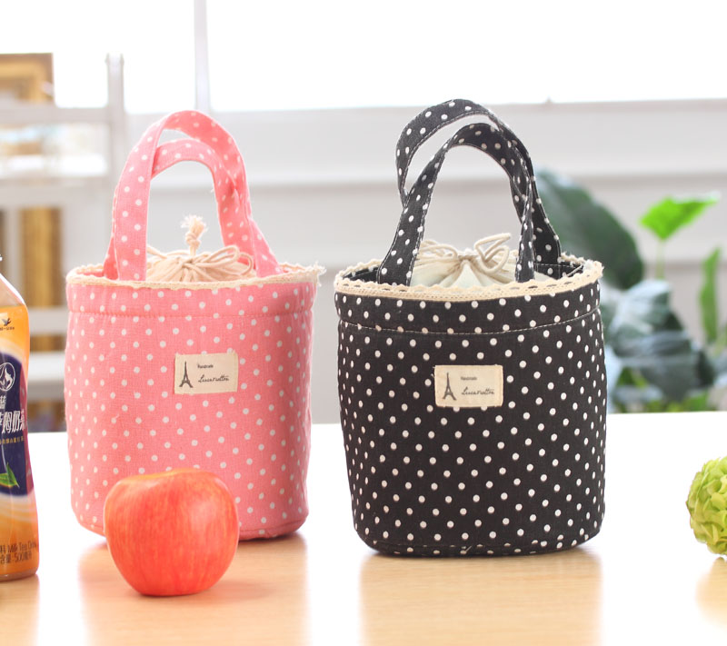 Thermal Insulated Lunch Box Cooler Bag Tote black-pink-Bento Pouch Lunch Container Free P&P