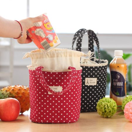 Thermal Insulated Lunch Box Cooler Bag ToteRed:Black Bento Pouch Lunch Container Free P&P