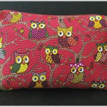 RED Owl Style Design Pencil Case/Cosmetics bag.