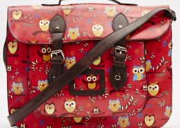 Red-Bags-School-Bag-large-owl-print-across-bag-red