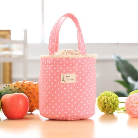 PINK Thermal Insulated Lunch Box Cooler Bag Tote Bento Pouch Lunch Container Free P&P