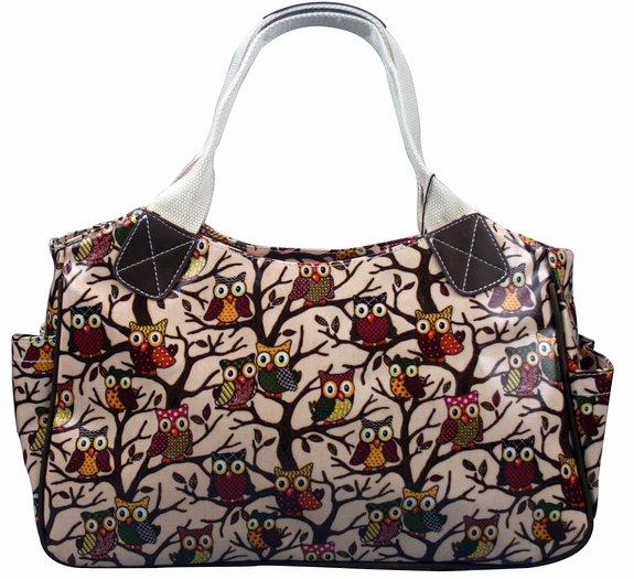 Pink Owl oilcloth shopper bags