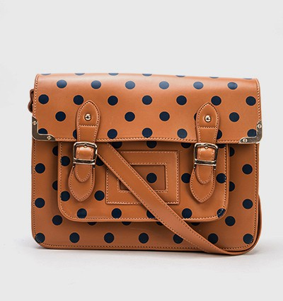 Tan Polka Dot Satchel - School and College Bags - Study Bag..