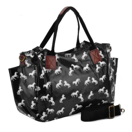 Horse Pattern Oilcloth Winged Handbag - Black