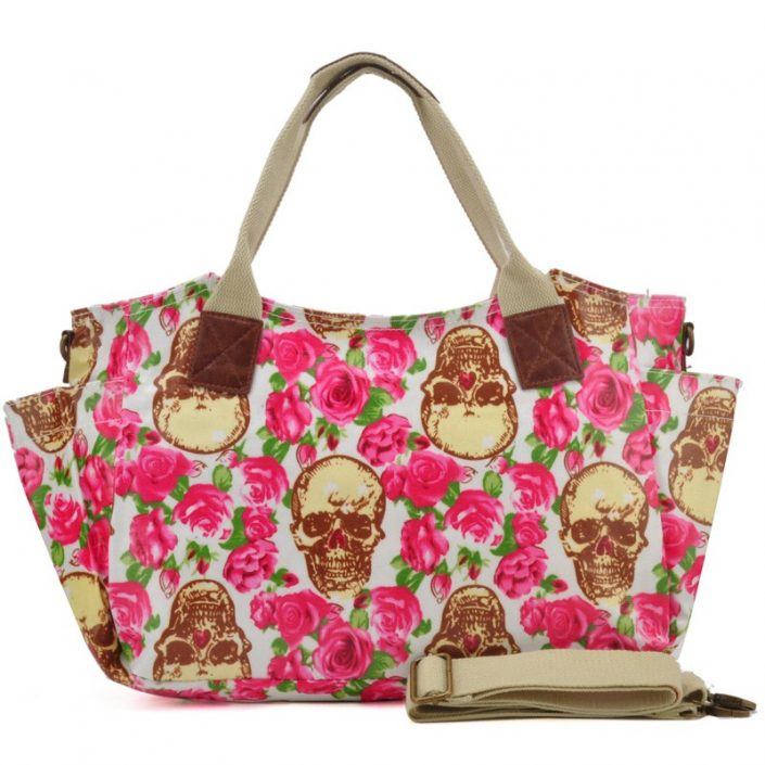 Beige - Roses and Skull Printing Oilcloth Winged Handbag