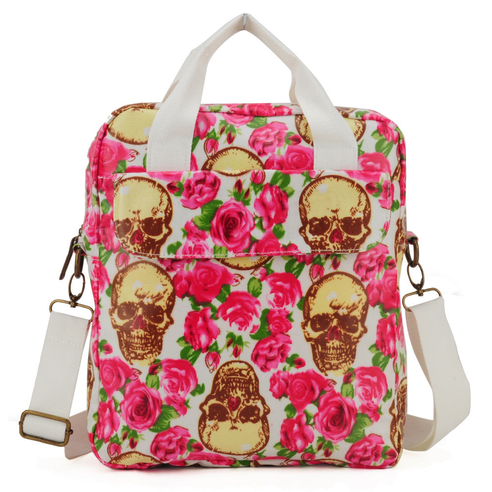 Gorgeous Snake Skin Print Bag Quality Over Quantity Price: Skull And Roses Printing Oilcloth Shoulder Bag
