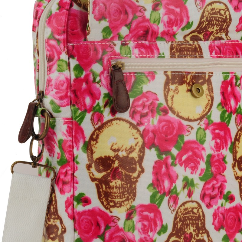 Beige - Skull and Roses Printing Oilcloth Shoulder Bag2