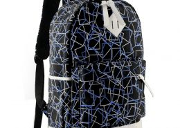 Black - Geometric Pattern School Backpack for Kids