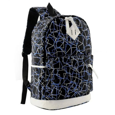 Black - Geometric Pattern School Backpack for Kids