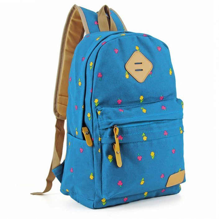 Blue - Flower Printing Kids' School Bag