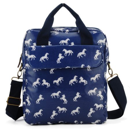 Blue Horse Pattern OilCloth Women Shoulder Bags