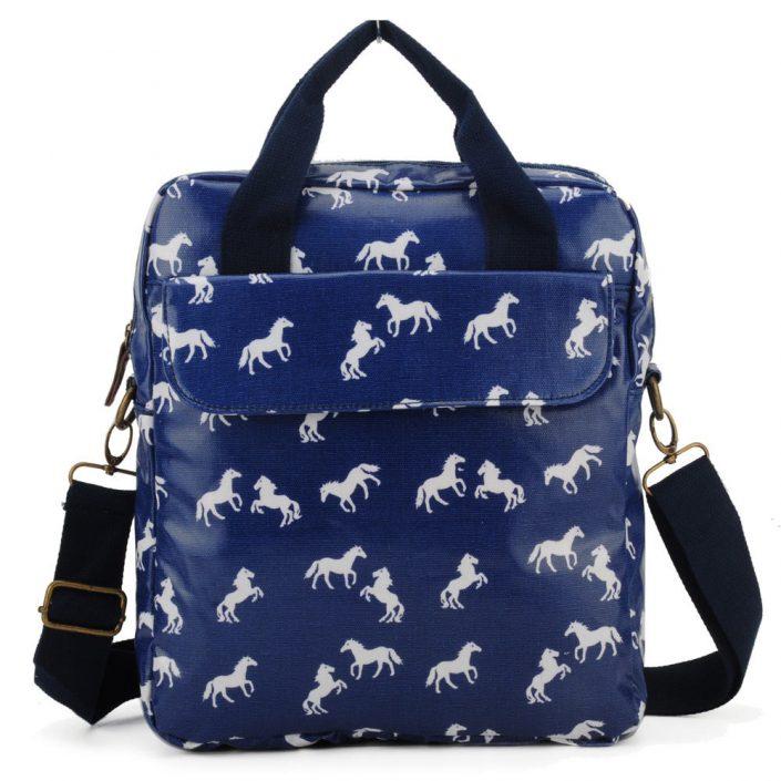 Blue Horse Pattern OilCloth Women Shoulder Bags