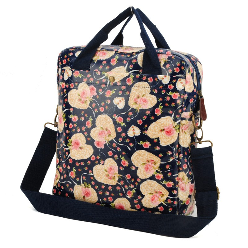 Dark Blue - Floral and Heart Pattern Oilcloth Shoulder Bag3