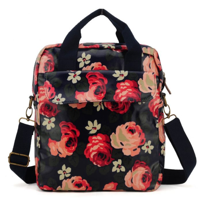 Dark Blue - Flower Oilcloth Shoulder Bag Crossbody Bag3