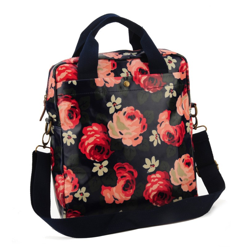 Dark Blue - Flower Oilcloth Shoulder Bag Crossbody Bag2