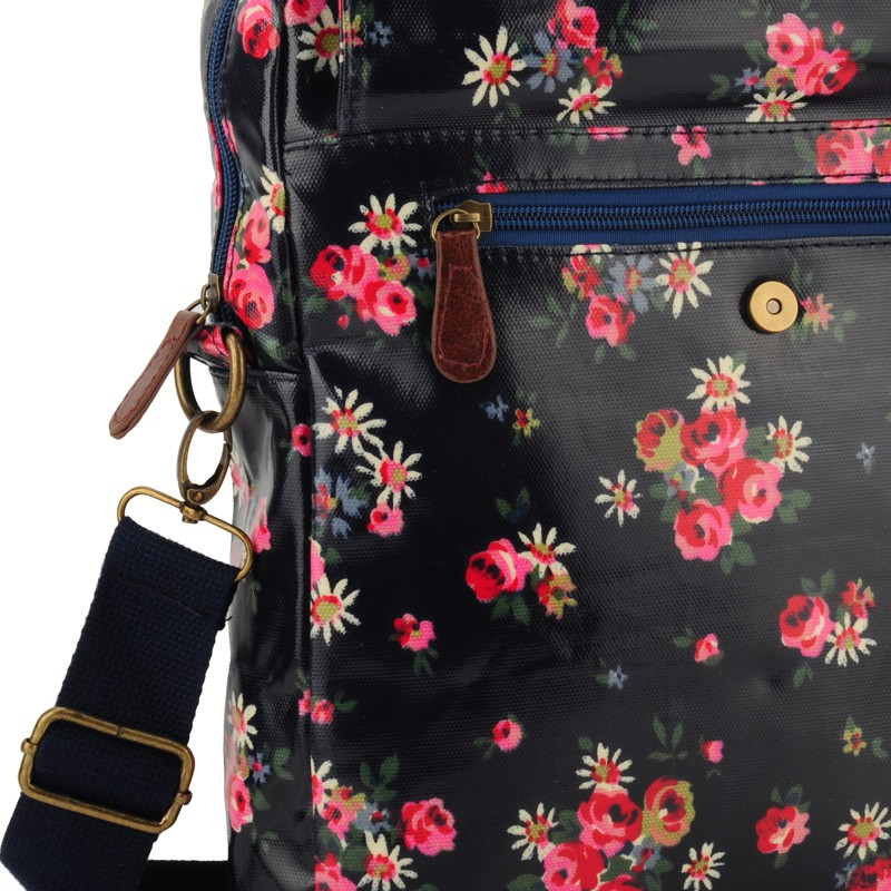 Dark Blue - Vintage Floral Oilcloth Shoulder Bag3