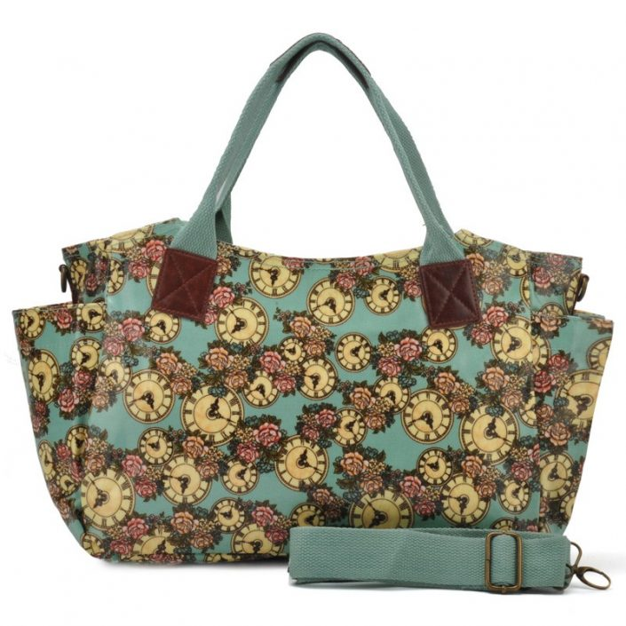 Green - Floral and Clock Pattern Oilcloth Winged Handbag