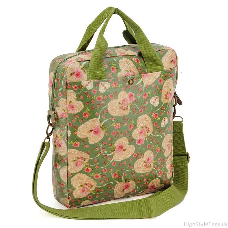 Green - Floral and Heart Pattern Oilcloth Shoulder Bag2