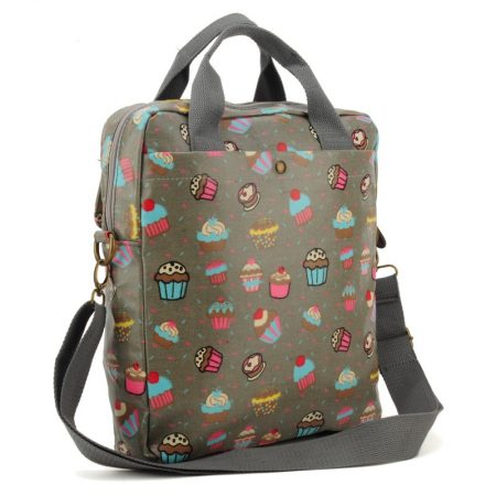 Grey - Cartoon Cake Pattern Oilcloth Shoulder Bag