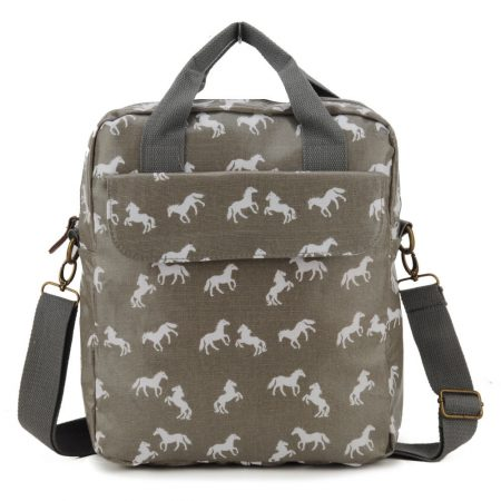 Grey - Horse Pattern Oilcloth Women Shoulder Bag