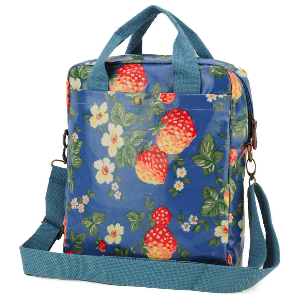 Light Blue - Strawberry Printing Oilcloth Shoulder Bag Crossbody Bag