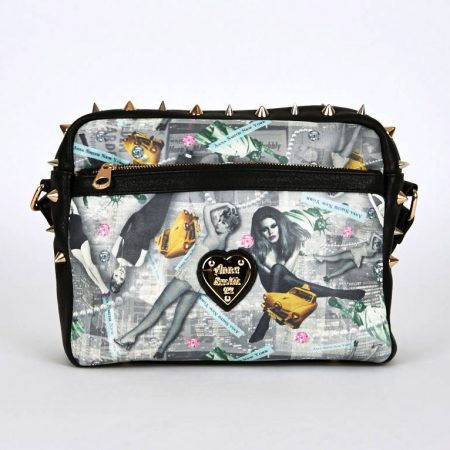 NEW WOMENS GORGEOUS New York Print Spike Detail Cross-Body Bag ANNA SMITH