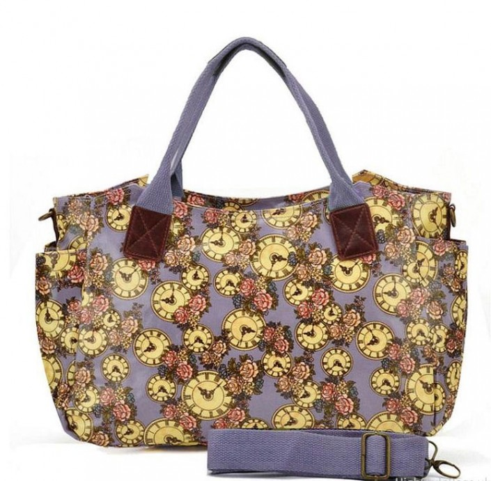Purple - Floral and Clock Pattern Oilcloth Winged Handbag