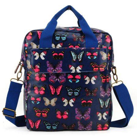 Dark Blue - Multicolor Butterfly Oilcloth Shoulder Bag