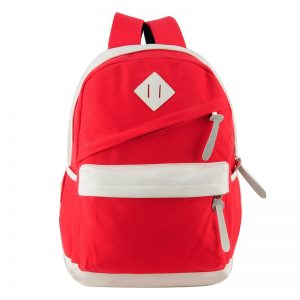 Red - Patchwork Kids' School Bag with Zipper Detail