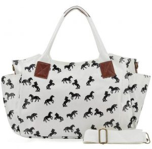 White - Horse Pattern Oilcloth Winged Handbag