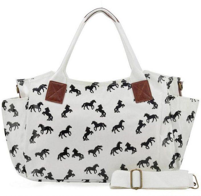 White - Horse Pattern Oilcloth Winged Handbag