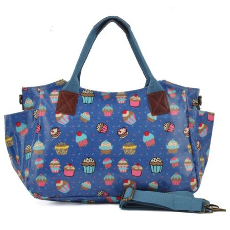 Dark Blue - Cartoon Cake Printing Oilcloth Winged Handbag