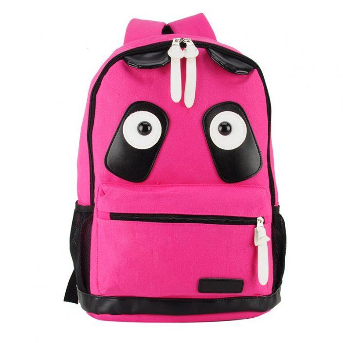 Fushia - Cartoon Panda Pattern School Bag