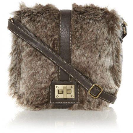 Brown Faux Fur Cross Body Bag