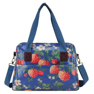 Lovely Vintage Style Blue Floral Oilcloth Handbag / Shoulder Bag