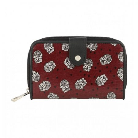 Women Cherry Red Owl Cloth Purse