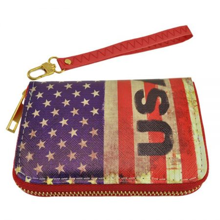 USA PURSE Short Zip Wallet Stars and Stripes Purse -