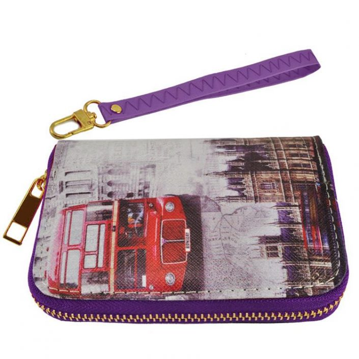 Short Zip Wallet London Telephone Booth Big Ben London Eye Map Purse