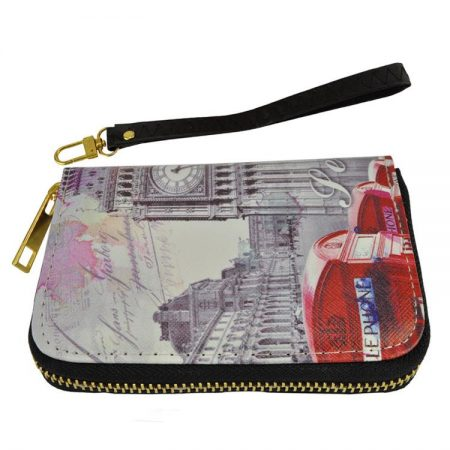 Short Zip Wallet Cars Pattern Oil Painting Purse