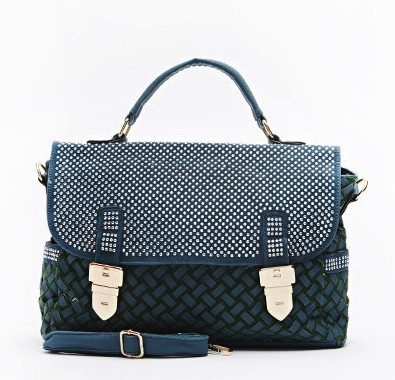 diamante-textured-handbag-green