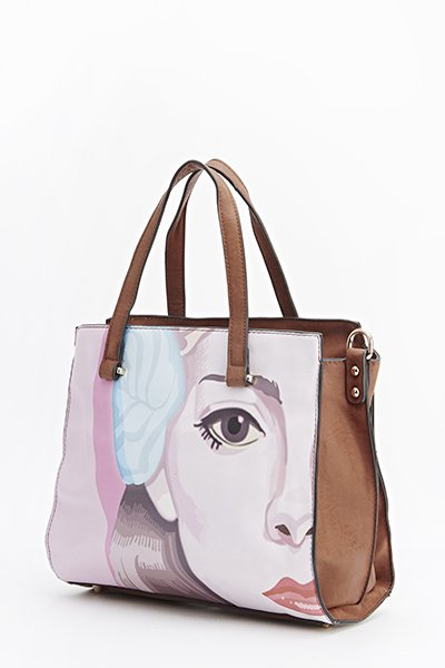 face print tote bags - taupe
