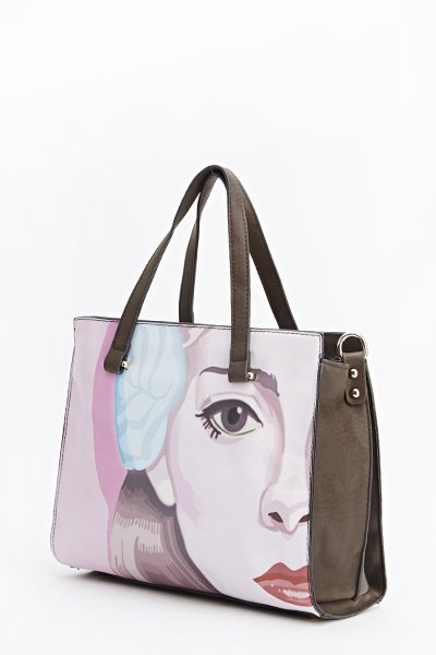 Face Print Tote Bag - Taupe - Popular Designer Style