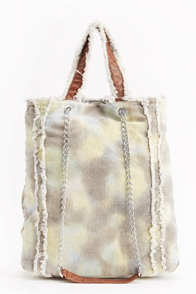Green Wash Out Frayed Trim Bag