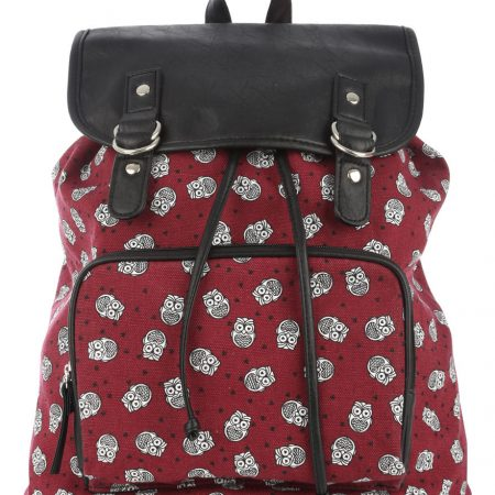 Womens Ladies Double Tab Owl Backpack School Bag Printed Rucksack
