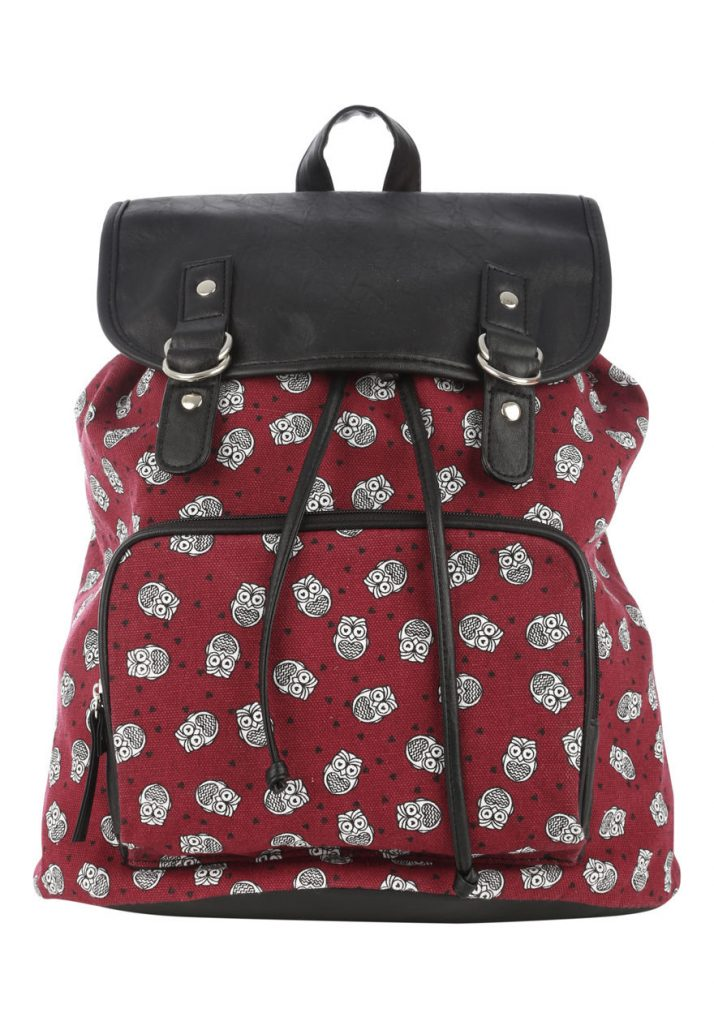 Womens Ladies Double Tab Owl Backpack School Bag Printed Rucksack